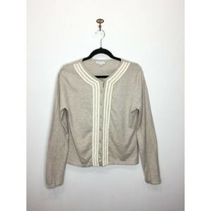 Garnet Hill Beige Cotton Cashmere Cardigan Pearls